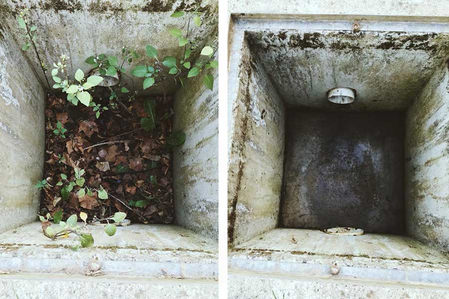 Drain/pit cleaning - before and after