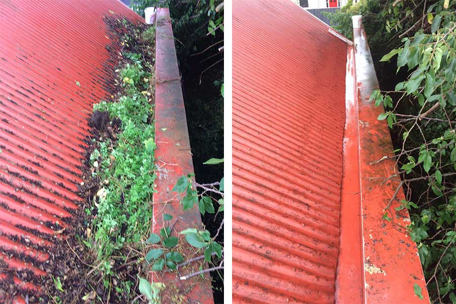 Gutter cleaning - before and after