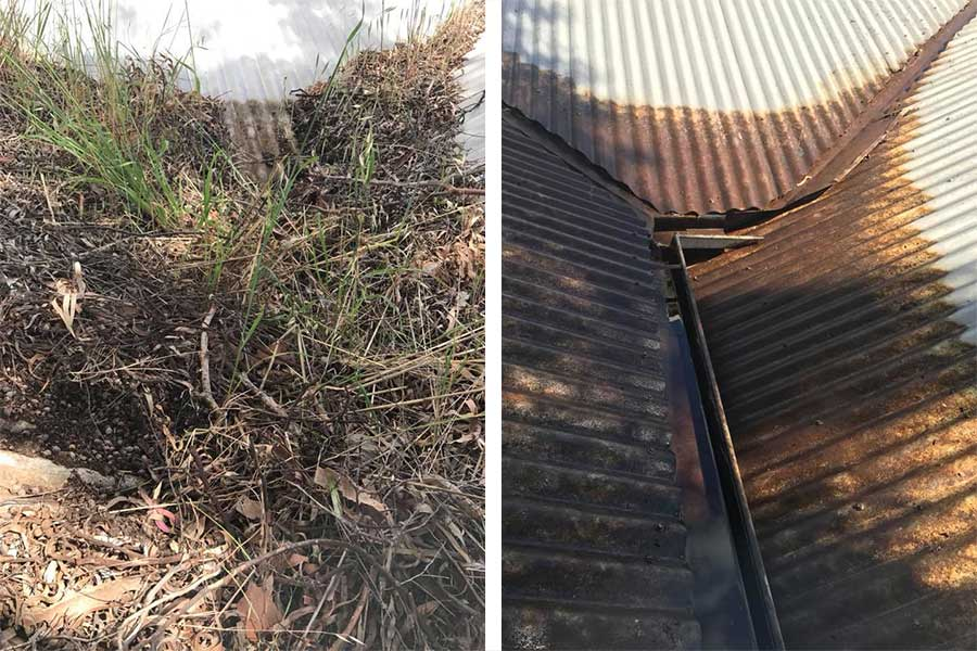 Gutter and Roof Cleaning - before and after