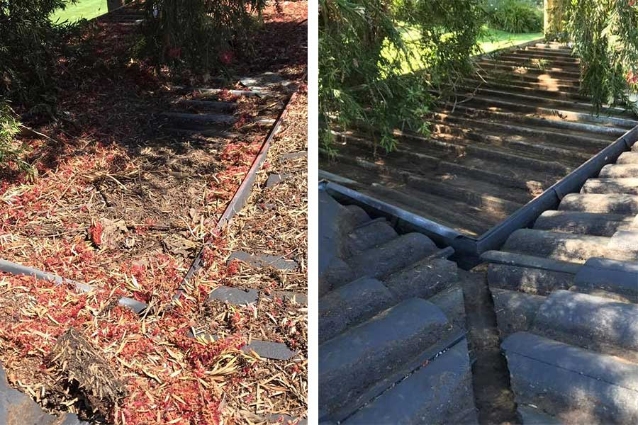 Roof and gutter cleaning - before and after