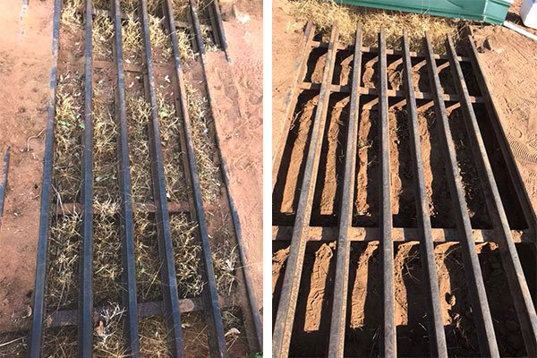 Cattle Grate before and after vacuum cleaning