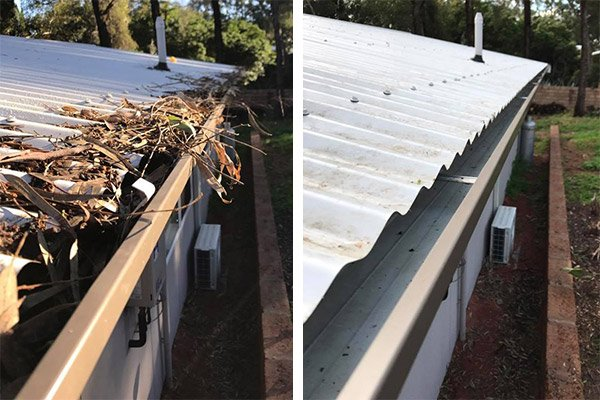 Gutter before and after Vacuum Cleaning